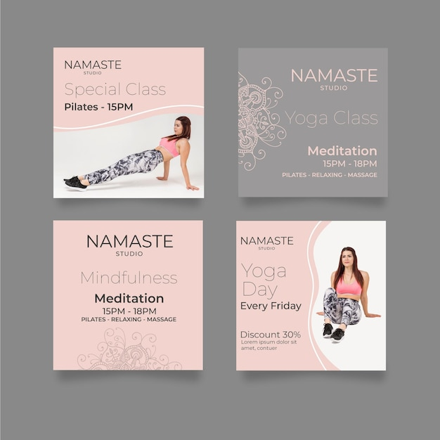 Meditation & mindfulness instagram posts template Free Vector