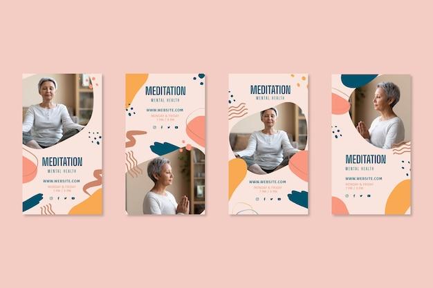 Meditation and mindfulness instagram posts Free Vector