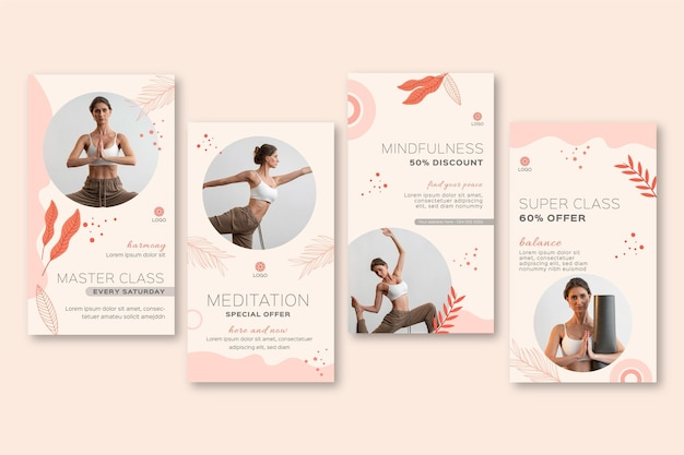 Meditation and mindfulness instagram stories collection Free Vector