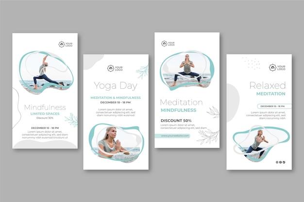 Шаблон историй instagram для медитации и осознанности Premium векторы