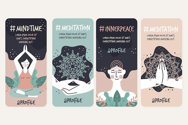 Meditation and mindfulness instagram stories Free Vector