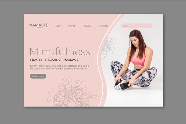 Шаблон целевой страницы медитации и осознанности Бесплатные векторы