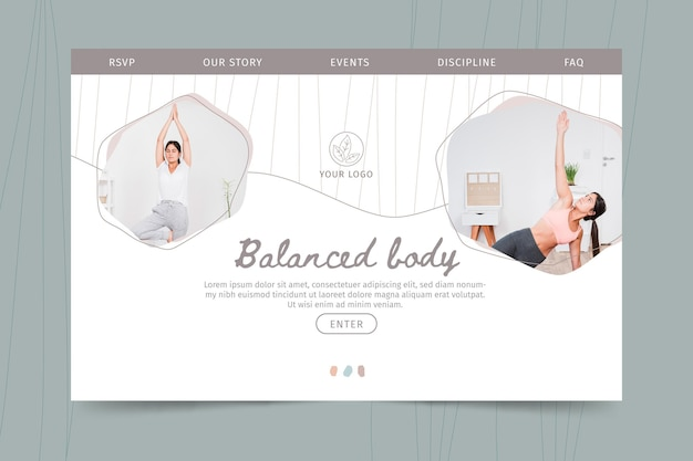 Meditation and mindfulness landing page template Free Vector