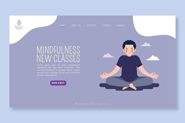 Modello di pagina di destinazione per meditazione e consapevolezza Vettore gratuito