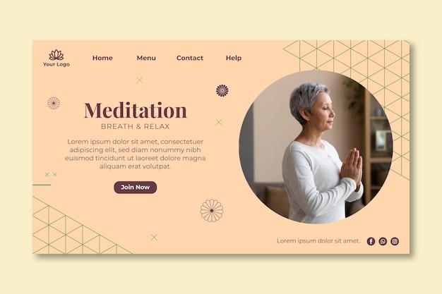 Meditation and mindfulness landing page Free Vector