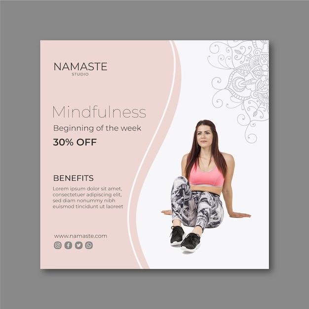 Meditation & mindfulness square flyer template Free Vector