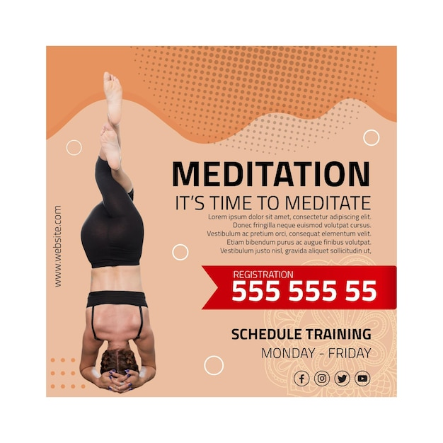 Meditation and mindfulness square flyer Free Vector