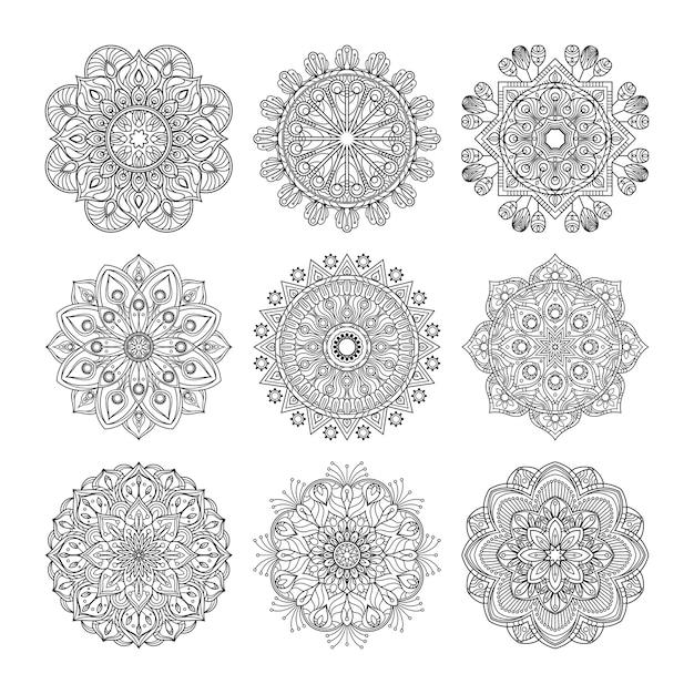 瞑想パターン。分離されたインドの曼荼羅セットのイラスト。ヨガのコンセプト。マンダラブラックパターンのコレクション Premiumベクター
