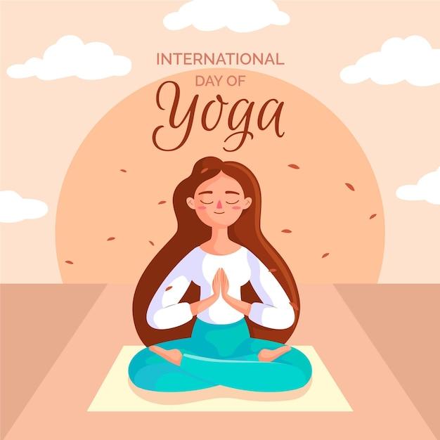 Meditation position international day of yoga Free Vector