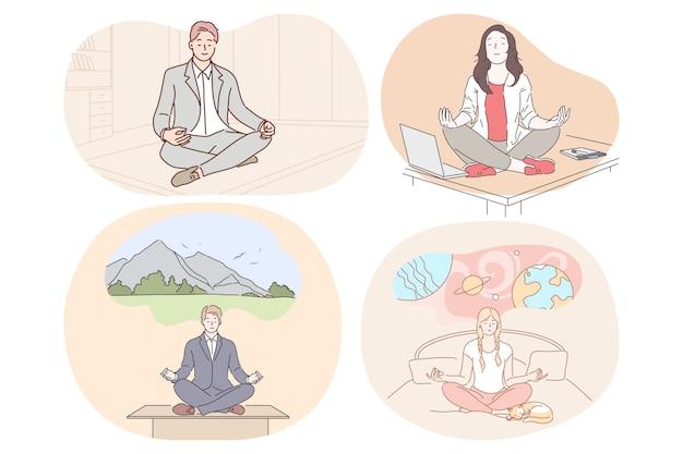 瞑想、リラクゼーション、就業日中と睡眠の概念の前に調和に達する。 Premiumベクター