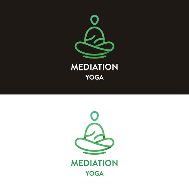 Meditation yoga logo design Premium Vector