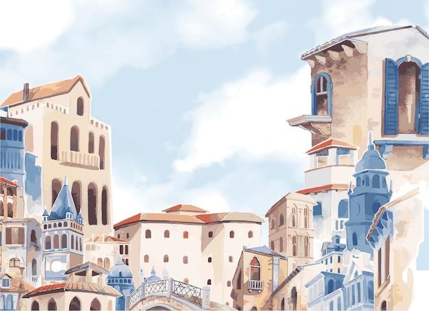 Mediterranean city building exterior water color style Free Vector