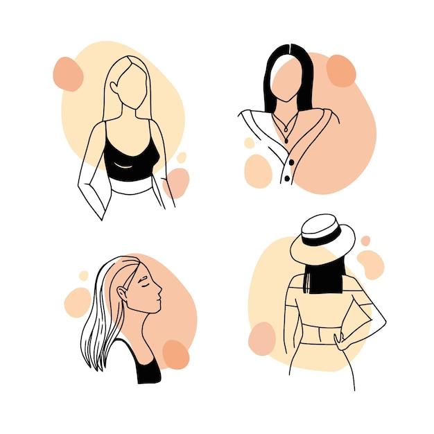 Средний снимок женщины в элегантном стиле арт-линии Бесплатные векторы