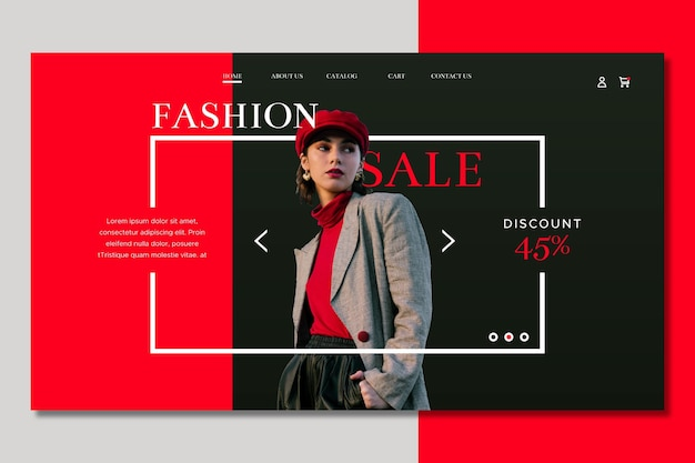 Medium shot woman fashion sale landing page Free Vector