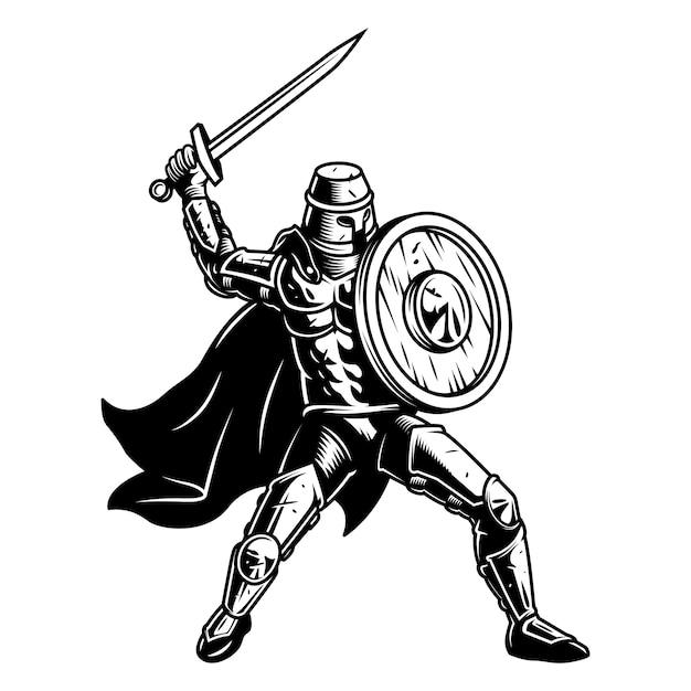 Средневековый солдат со щитом Бесплатные векторы