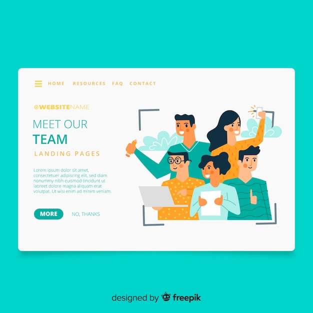 Meet our team concept landing page Free Vector