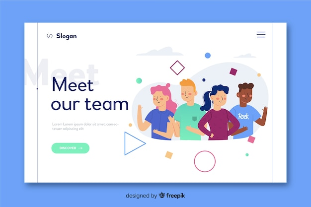 Meet our team concept for landing page Free Vector