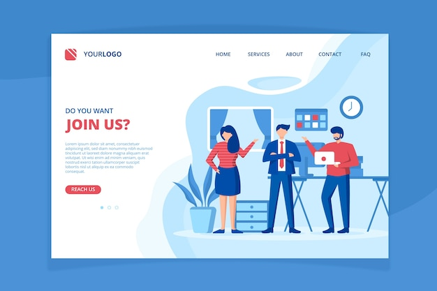 Meet our team landing page template Free Vector