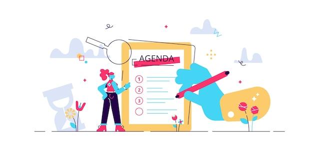 会議の議題のイラスト。小さな人のタイムスケジュール。ビジネスの予定リスト。会社情報タイムテーブルの専門的な計画管理命令。 Premiumベクター