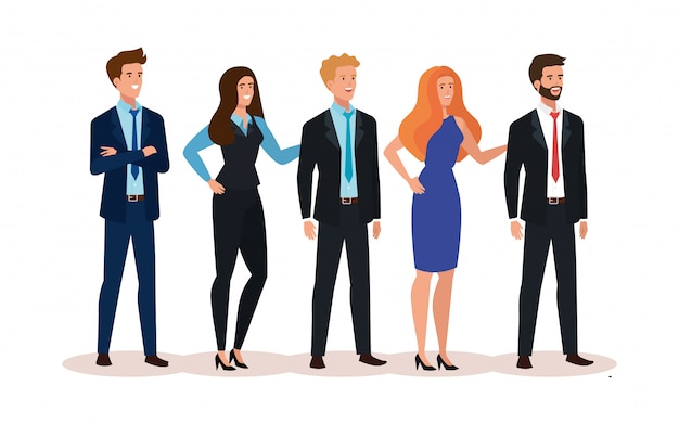 Meeting of business people avatar character Free Vector