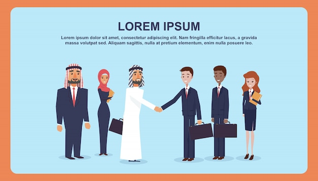 Meeting business people for signing an agreement. Premium Vector