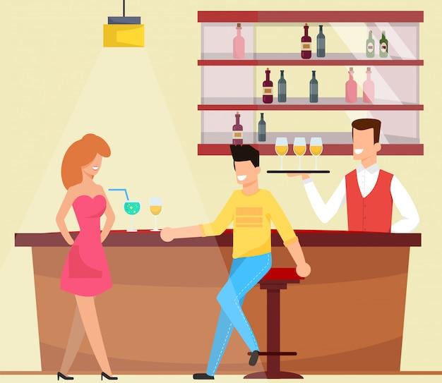 Meeting and chatting at bar vector illustration. Premium Vector