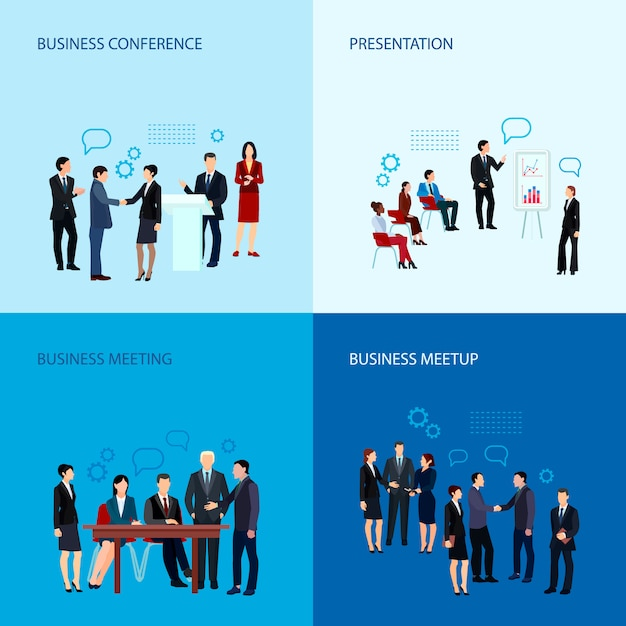 Meeting and conference concept with business people group Free Vector