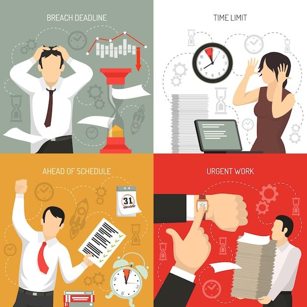 Rispetto delle scadenze 4 icone piane concetto con lavoro in anticipo sulla pianificazione e limiti di tempo violazione isolata Vettore gratuito