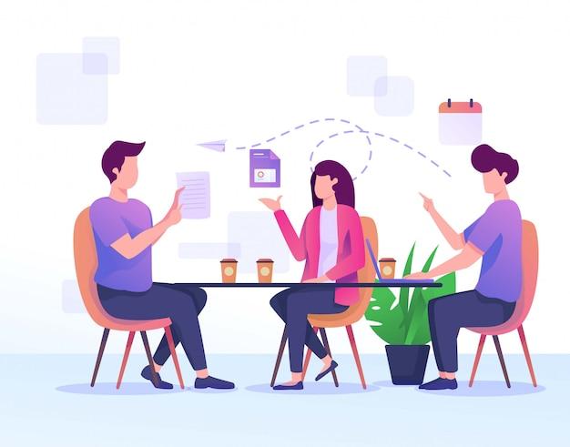 Meeting on the desk Premium Vector