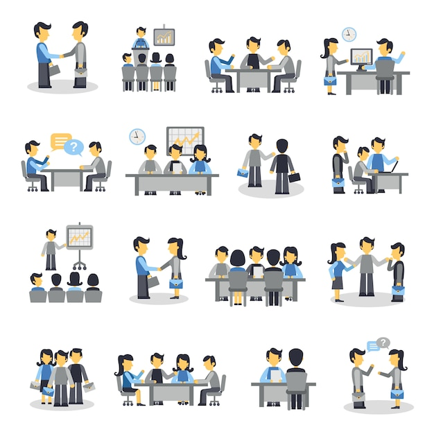 Meeting icons flat set Free Vector
