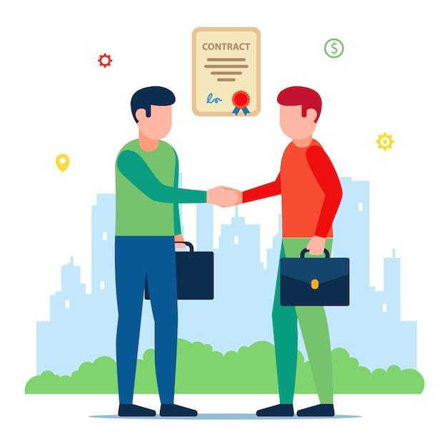 Встреча деловых партнеров. подпись договора. иллюстрация персонажей. Premium векторы