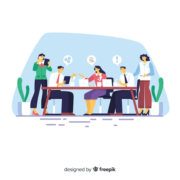 Meeting at the office background Free Vector