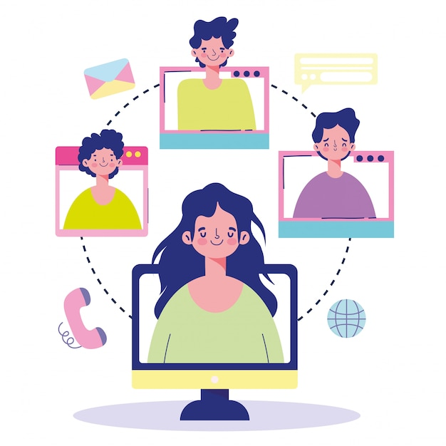 オンライン会議、人々コンピューターweb接続世界通信漫画 Premiumベクター