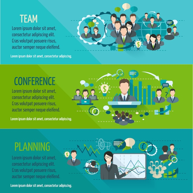 Meeting people horizontal banner set with team\ planning conference isolated vector illustration