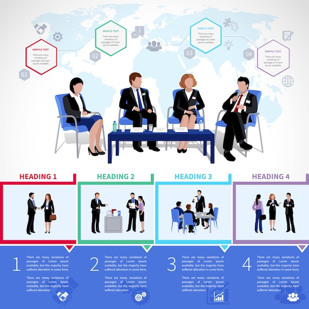 Meeting people infographics set with collaboration briefing analysis Free Vector