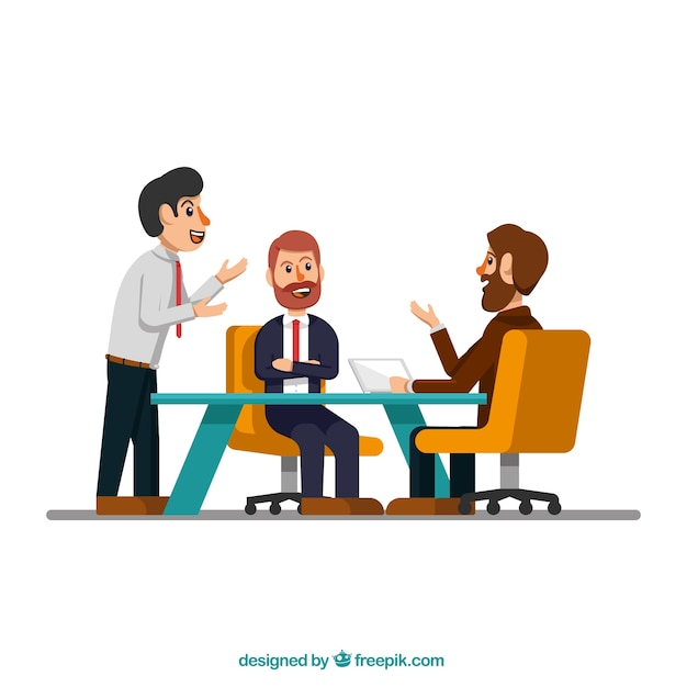 Meeting scene with businessmen Free Vector