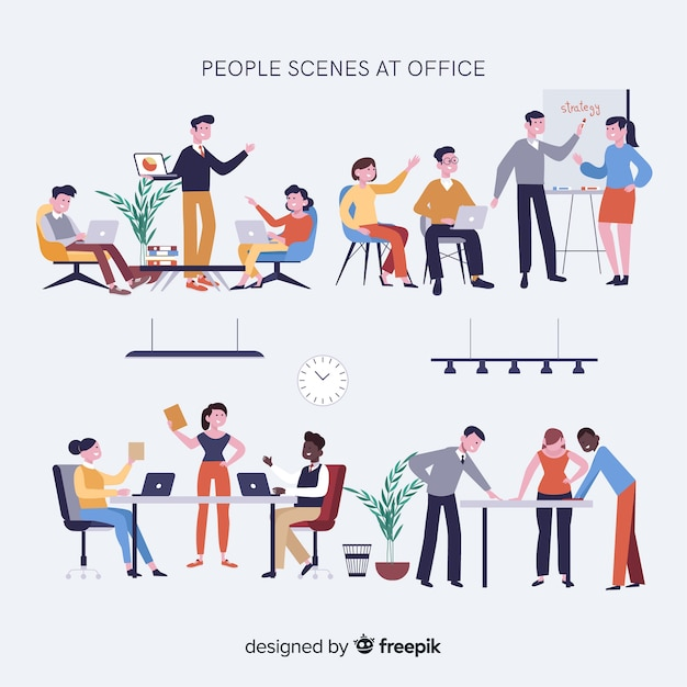 Meeting scenes at the office collection Free Vector