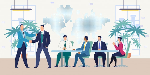 Meeting with business partners flat vector concept Premium Vector