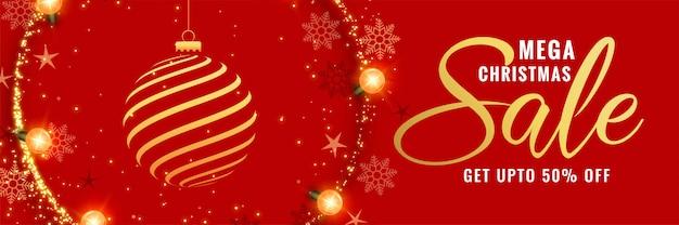Mega christmas red decorative banner design Free Vector