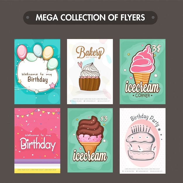 download vector collection of bakery flyers templates or menu