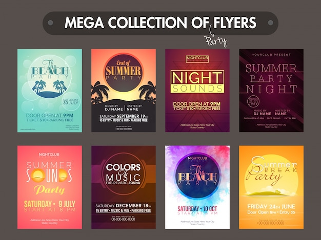 Mega Collection Of Creative Music Party Flyers Templates And Invitation Cards Design Premium Vector