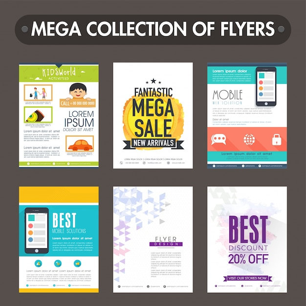 mega collection of different flyers or templates design vector