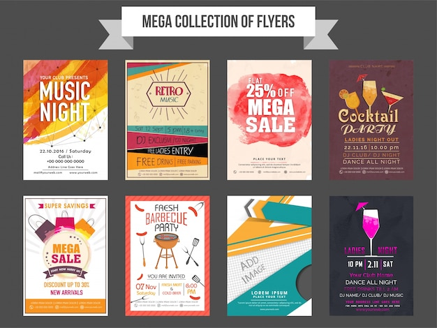 mega collection of eight different flyers design based on sale and