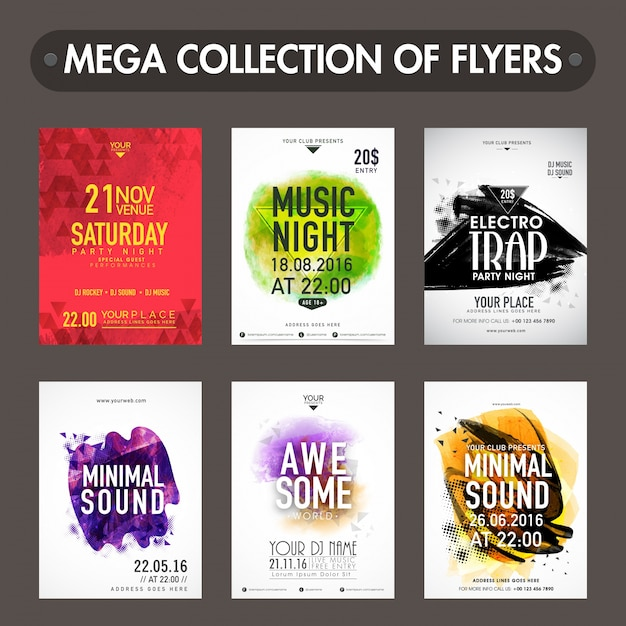 mega collection of music party flyers templates or invitation card
