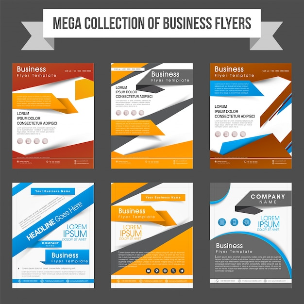 mega collection of six professional flyers or templates design for