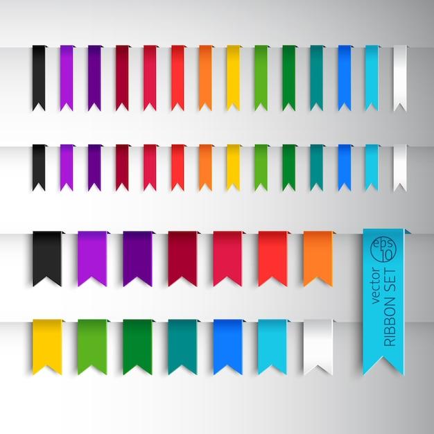 다양한 색상의 리본과 다른 스타일의 메가 컬렉션 무료 벡터