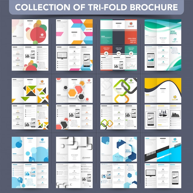 Mega Collection Tri-Fold Leaflet, Brochure design. Premium Vector