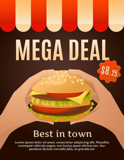 ハンバーガー付きメガディールポスター Premiumベクター
