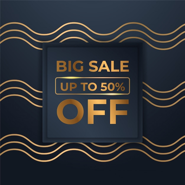 Mega flash sales banners with black gold for sales Premium Vector