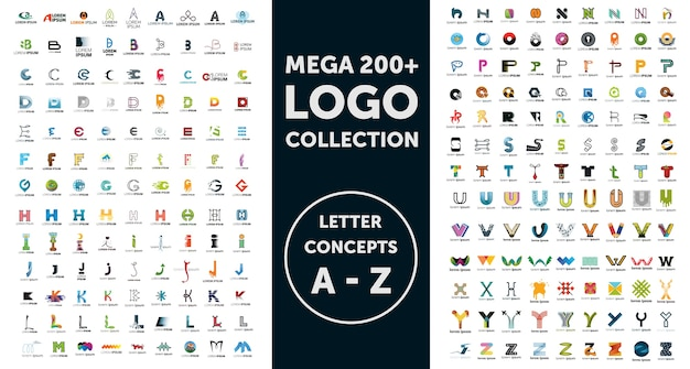 Mega logo collection Premium Vector